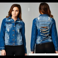 NWT Shredded Denim Jacket Super cute denim jacket with all over distressing and a shredded back. NWT Jackets & Coats Jean Jackets