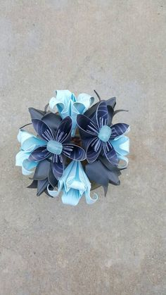 Blue and Grey Origami Flower Arrangement by FlorigamiFashions on Etsy