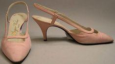 Roger Vivier Shoes for Yves Saint Laurent -French 1964  Linen, leather
