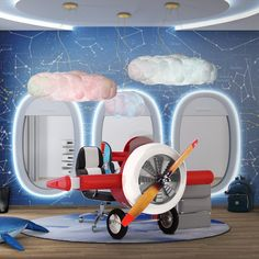 This airplane shaped kids' desk, has a playful design and it's perfect for an airplane room decor. Create a unique study area for children Bedroom Themes, Kids Bedroom, Bedroom Decor, Bedroom Ideas, Blue Bedroom, Cozy Bedroom, Bedroom Lighting, Kids Rooms, Blue Furniture