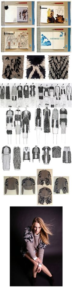 Fashion Sketchbook design & development by Rory Longdon - experimental textile textures, swatches, drawings