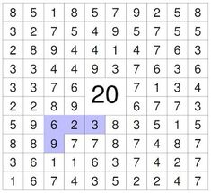 # number puzzle Find the numbers that add up to 20 (vertical, horizontal and Money Worksheets, 1st Grade Worksheets, 2nd Grade Math, Worksheets For Kids, Homework Club, Number Puzzles, Math Intervention, Math Facts, Teaching Math