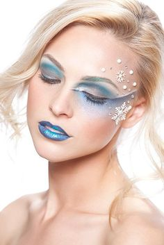Ice Princess inspired make-up with snowflakes and crystals.
