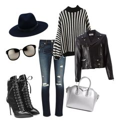 """""""silver"""" by yourlooksmyway on Polyvore featuring Giuseppe Zanotti, rag & bone, Yves Saint Laurent, Givenchy, Linda Farrow, women's clothing, women, female, woman and misses"""