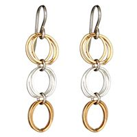 Mixed Circles Earrings - Sterling silver and 14k gold-filled links  $52.00