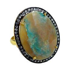 Silvestoo India Peru Opal & Cubic Zircon Gemstone 925 Sterling Silver Vermail Ring US Sz 5.5 Adjustable PG-100713   https://www.amazon.co.uk/dp/B06XXLDR5P