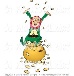 st patricks day clip art | Vector Clip Art of a St Patricks Day Wealthy Leprechaun Playing in His ...