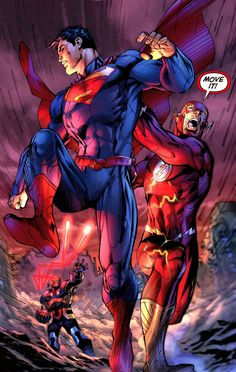 """""""Move it!"""" Une bonne scène dans le premier no de """"Justice League"""" de 2011 que je viens de lire #new52 #cybergui #flash"""