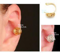 False Pierce Cartilage Ear Cuff  Wire Rose/ piercing imitation/ Fake faux piercing/ ohrclip/ rose ear jacket/ no piercing earring manschette