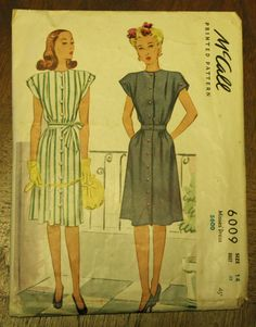 McCall 6009 1940s 40s Day Dress  Sewing by EleanorMeriwether, $14.00
