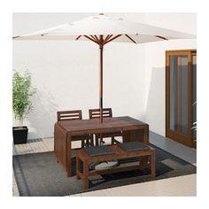 ÄPPLARÖ Table, 2 armchairs and bench, brown stained, Hållö black Äpplarö brown stained/Hållö black