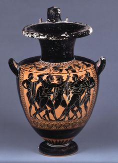 Pottery: black-figured hydria.  The Strife of Ajax and Odysseus over the arms of Achilles: Between the combatants is Agamemnon interposing to separate them. On the left is Ajax to right, nude, bearded, with drawn sword in right hand, sheath in left, confronting Odysseus, who is nude and beardless, and holds sword in left hand, sheath in right. Each of them is seized round the waist by a nude male figure, who prevents them from attacking one another.  Attic Archaic Greek, 520BC (circa)