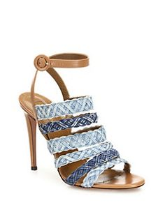 Aquazzura - Tyra Strappy Denim & Leather Ankle-Strap Sandals