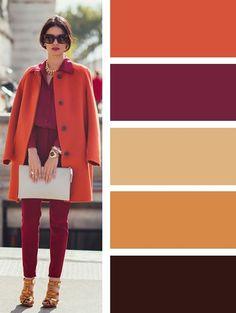 """Прием """"растяжка цвета"""": в одном образе используются цвета из одной группы, но в разных оттенках и фактурах. Вариант в теплых тонах."""