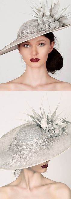 'Prudence' brimmed slice saucer fascinator hat is ideal for race days, weddings and garden parties. Made with a light grey (silver) sinamay, trimmed with roses, lace and feathers. Racing fashion hats and headpieces for the races, Mother of the Brode, Kentucky Derby, Royal Ascot, Spring Weddings. #racingfashion #fashionsonthefield #royalascot #kentuckyderby #hats #millinery #saucerhats #fashion #fashionista #affiliatelink #ootd #floralhats #fascinators