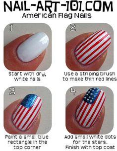 American Flag Nail Art Tutorial http://www.nail-art-101.com/nail_art_tutorials.html