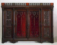 Armoire. 1850. A.W.N. Pugin, the designer of this cabinet, called it an armoire after French Medieval cupboards, which he admired. Originally the central section was intended to hold shelves for books.