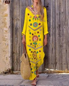 Women Bohemian Floral Maxi Dress Summer Beach Casual Long Sundress Middle East Cotton Linen VNeck Robes Plus Size Dresses Long Sleeve Maxi, Maxi Dress With Sleeves, Floral Maxi Dress, Boho Vintage, Vintage Mode, Evening Dresses Plus Size, Summer Dresses, Fast Fashion Brands, Moda Boho