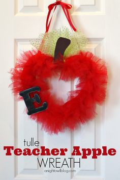 Tulle Teacher Apple Wreath-- apples, hearts, and tulle. Do I need to explain why this is a crappy teacher gift?