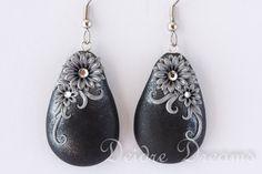 - SOLD - Winter Black Silver Goth Art Deco Flower Dangle by DeidreDreams