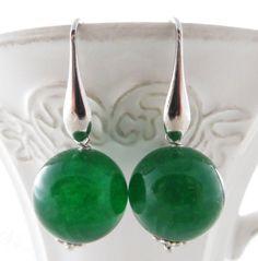 Green Emerald Jade Earrings 925 Sterling Silver Round Stone Dangle Italian Jewelry Women Gioielli