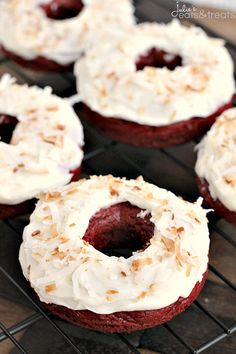 """Baked"" Toasted Coconut Red Velvet Donuts ~ Easy donuts made with a Red Velvet Cake Mix and topped with Cream Cheese Frosting and Toasted Co..."