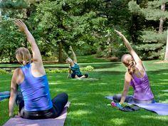 Yoga class in Dow Gardens, Midland, MI
