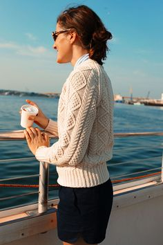 Sarah Vickers of Classy Girls Wear Pearls in our Cotton Fisherman Sweater