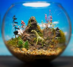 miniature dinosaur gardens images | Baby Dinosaur Miniature Zen Garden Terrarium / by Megatone230