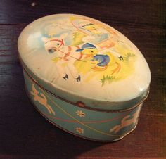 Vintage Cote d'Or dor Belgian Chocolate Easter Tin Box Lamb Pulls Baby Carriage
