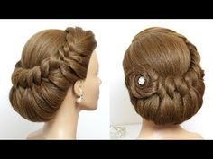 Bridal Updo. Braided Hairstyle For Long Hair Tutorial - YouTube