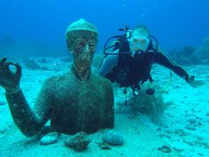 You can find the underwater statue of the Captain in the Reserve off Pigeon Islands #ReserveCousteau #Diving #VisitGuadeloupe #GuadeloupeIslands