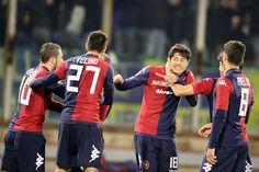 Nenè of Cagliari celebrates with team-mates after scoring 1-0  during the serie A match between Cagliari Calcio and Hellas Verona FC at Sta...