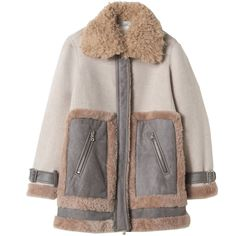 Shearling Mix Coat ($1,325) ❤ liked on Polyvore featuring outerwear, coats, jackets, clothing - outerwear, color block coat, sheep fur coat, colorblock coat and shearling coat