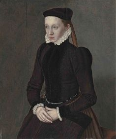 Portrait of a lady, three-quarter-length, in a black dress with a white ruff and black cap    Circle of Nicolas Neufchatel, called Lucidel (active Antwerp and Nuremburg, 1539-?1573)