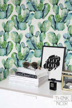 Watercolor Cactus Wallpaper /Removable Cactus Wallpaper /Cactus Wall Mural /Watercolor Cactus Pattern Wall Covering / Self Adhesive