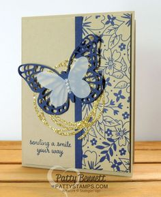 Affectionately Yours floral greeting card with die cut Butterfly thinlit and Swirly Scribbles gold glimmer accent.