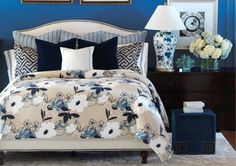 Barclay Butera Luxury Bedding by Eastern Accents - Del Mar Collection - Available through Fresh Perspective Luxury Bedding Collections, Luxury Bedding Sets, Fresco, Newport, Royal Blue Walls, Guest Bedroom Decor, Master Bedroom, Bedroom Ideas, Guest Rooms