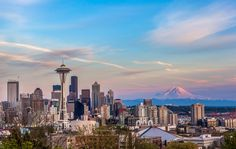 seattle downtown skyline and mt. rainier at sunset from kerry park. Us Destinations, Amazing Destinations, Seattle Washington, Washington State, Seattle Weather, Innovative City, Train Vacations, Pet Friendly Hotels