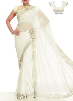 Off White #Georgette #Saree #crystal