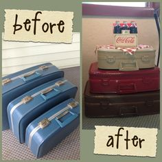 Old ugly suitcases, repurposed into decor with spray paint! Painted Suitcase, Suitcase Decor, Suitcase Table, Refurbished Furniture, Repurposed Furniture, Furniture Makeover, Diy Furniture, Modern Furniture, Furniture Design