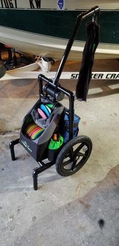 All terrain disc golf cart Disc Golf Cart, Disc Golf Basket, Disc Golf Rules, Disc Golf Course Review, Golf Drawing, Used Golf Carts, Disc Golf Courses, Innova Disc Golf, Golf Accessories