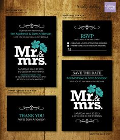 Mr and Mrs wedding, Black and White Wedding Printables, Customized Wedding Invitation, RSVP, Thank you card, Save the date, modern wedding