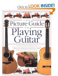 Picture Guide to Playing Guitar under £5s  http://www.amazon.co.uk/Picture-Guide-Playing-Guitar-Arthur/dp/0711972990/ref=as_li_tf_sw?&linkCode=wsw&tag=musionli07-21