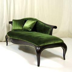 Gorgeous green velvet chaise.