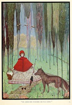 Illustration by Harry Clarke for the story that would play a central role to the change in tone Perrault's tales took on, Little Red Hiding Hood, from The Fairy Tales of Charles Perrault (1922)