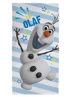 Poikkiraidallisessa pyyhkeessä veikistelee Frozen-elokuvan lumiukko Olaf. Ihanan pehmoinen pyyhe on 100-prosenttista puuvillaa. Mitat 70 x 140 cm. Pesu 40 asteessa.