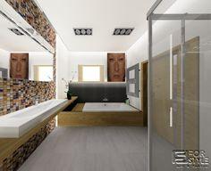 łazienka z dużą umywalką i wygodną wanną - marzenie, klimat spa, mozaika, szarości, drewno, design, łazienka dla dwojga .... Projektowanie wnętrz 4-style.pl