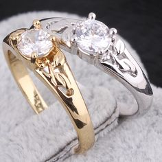 Fashion 18K Gold Plated Copper Ring Hollow Out Design Inlay Zircon Ring Two Colors