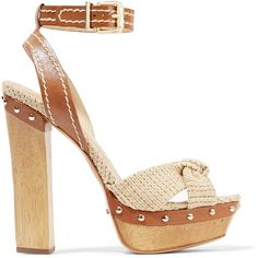 Schutz Dalla leather-trimmed raffia platform sandals (£105) ❤ liked on Polyvore featuring shoes, sandals, ecru, braided ankle-wrap sandal, woven sandals, buckle platform sandals, beige high heel sandals and platform shoes